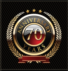 70 years anniversary golden label vector