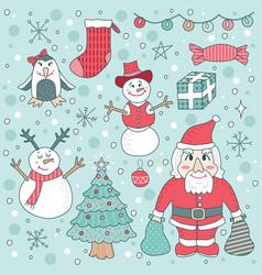 Cute children christmas set vector