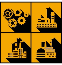 Industrial factory buildings background vector
