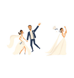 Groom and pride character set isolated vector