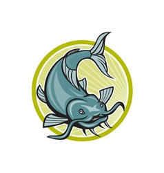 Catfish attacking circle cartoon vector