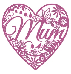 Mum papercut heart pink on white vector