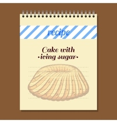 Recipe book cake with icing sugar vector