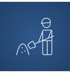 Man with shovel and hill of sand line icon vector
