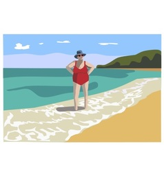 Old lady in swimsuit on the beach vector