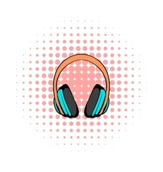 Big headphones comics icon vector