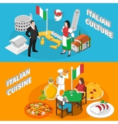 Italy tourism 2 isometric banners poster vector
