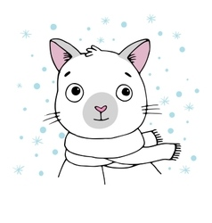 Portrait of a siamese cat winter vector