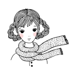 Young beautiful girl with braids vector