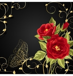 Bouquet of red roses with gold buttetfly vector