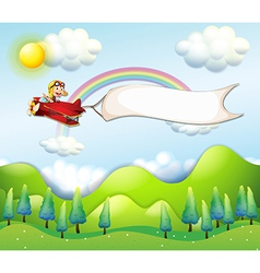 A monkey riding in a red airplane with an empty vector image vector image