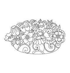 Abstract flowers coloring book vector