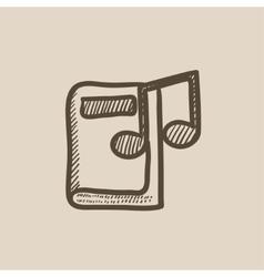 Audio book sketch icon vector