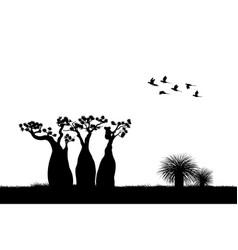 australian landscape black silhouette of koala vector image