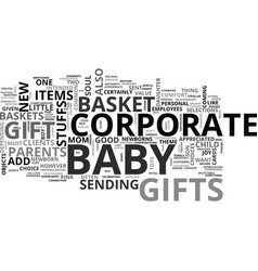Baby basket corporate gift text word cloud concept vector
