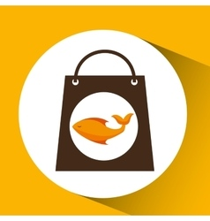 Bag shopping food icon fresh fish vector