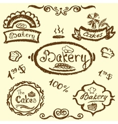 bakery set elements chalkboard vector image vector image