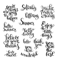 Black and white set of hand written calligraphic vector