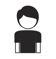 black silhouette of boy half body and faceless vector image vector image
