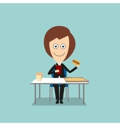 Business woman having fast food lunch vector