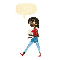Cartoon soccer girl with speech bubble vector