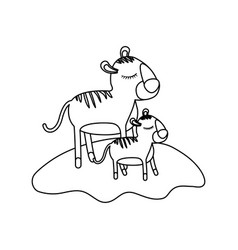 Cartoon tiger mom and cub over grass in monochrome vector