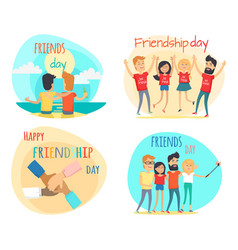 celebrating friendship day concepts set vector image