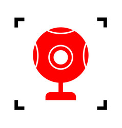 Chat web camera sign red icon inside vector