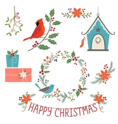 Christmas decorations and birds vector image vector image