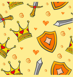 collection crown pattern style vector image vector image