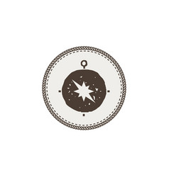 Compass icon sticker adventure symbol and patch vector