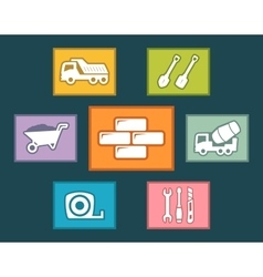 construction icons set on flat design vector image vector image