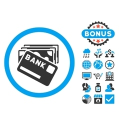 Credit money flat icon with bonus vector