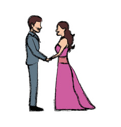 Cute wedding couple holding hand lovely vector