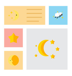 Flat icon midnight set of starlet bedtime vector