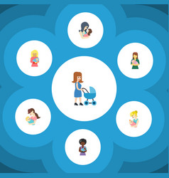 Flat icon mother set of woman kid mam and other vector