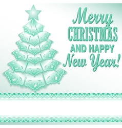 Green christmas tree festive paper style vector