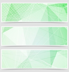 Green crystal pattern dot header set layout vector