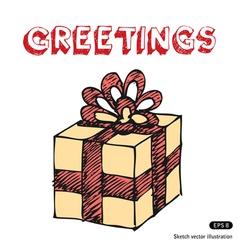 Hand drawn gift box vector image