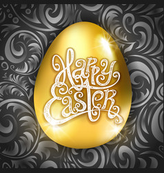 happy easter type greeting card with egg vector image vector image