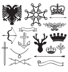 Heraldic symbols and elements vector