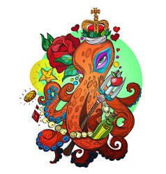 Octopus in the crown with the red rose sketch of vector