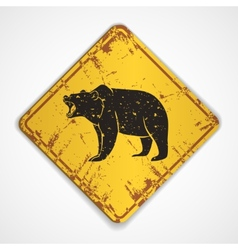Old metal plate with bear vector