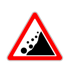 Road sign warning avalanche rockfall landslides vector