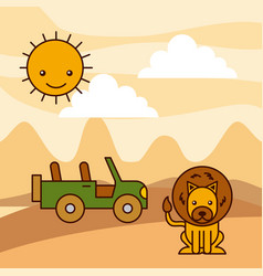 Safari africa lion jeep desert sun vector