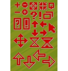 Set of different red pixel font symbols vector image vector image