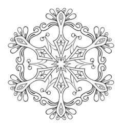 Snow flake in zentangle style mandala for adult vector