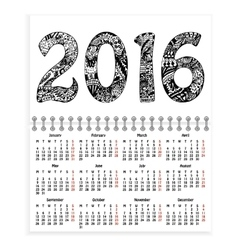 Spiral calendar with hand-drawn 2016 as cover vector