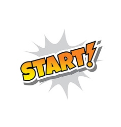 Start - Comic Speech Bubble Cartoon Game Assets vector image vector image