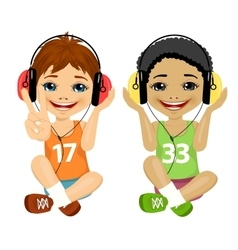 teenager boys listening music with headphones vector image